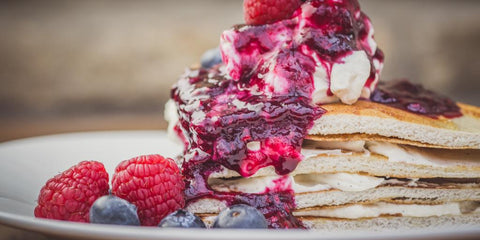 Low calorie raspberry pancakes