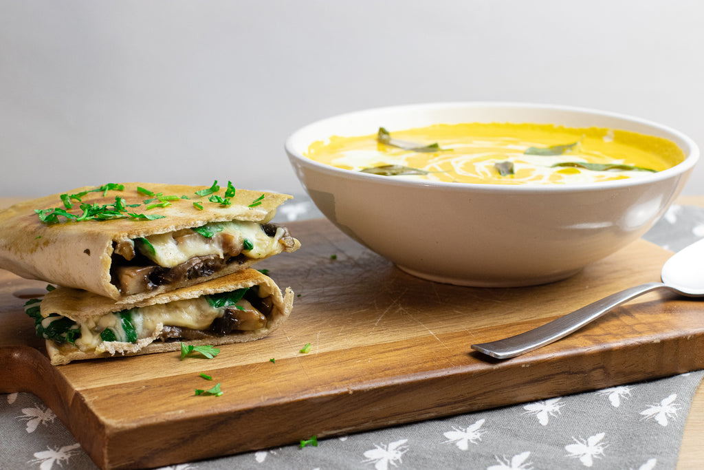 Squash soup and toastie