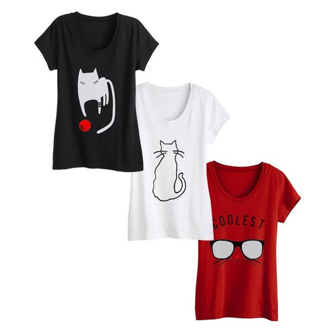 Ajmery Enterprise - Cotton Cat Lovers Printed Tshirts For Women - Wp3-Cl - Pack Of 3 - Multicolor