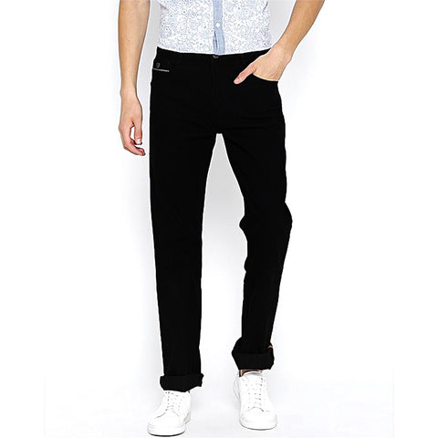 Men's Regular Fit Mid Rise Clean Look Jeans - Black