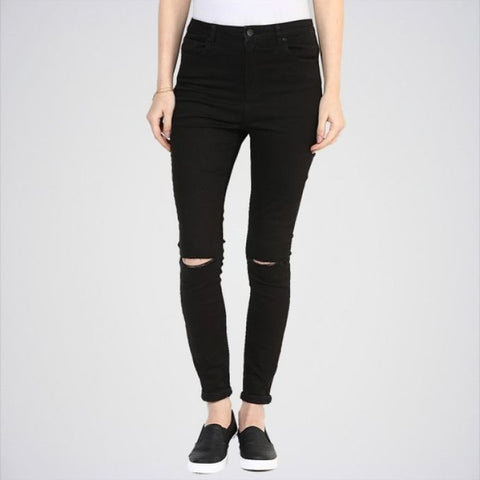 The Ajmery - Women's Lily High Rise Ankle Grazer Jeans - Black