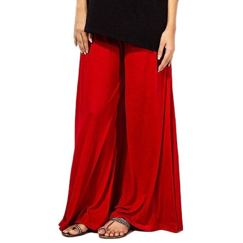 The Ajmery - Jersey Palazzo Pants For Women - Red