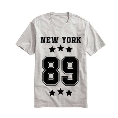 The Ajmery - Men's New York Printed Half Sleeves T-Shirt - Ny-89 - White