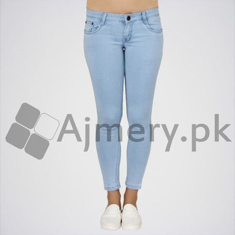 The Ajmery - Women's Mid Rise Regular Jeans - Light Blue