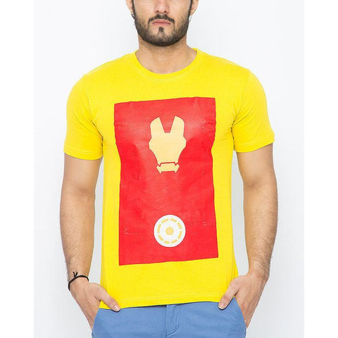 The Ajmery - Cotton Exclusive Iron Man Printed T-Shirt for Men - Yellow