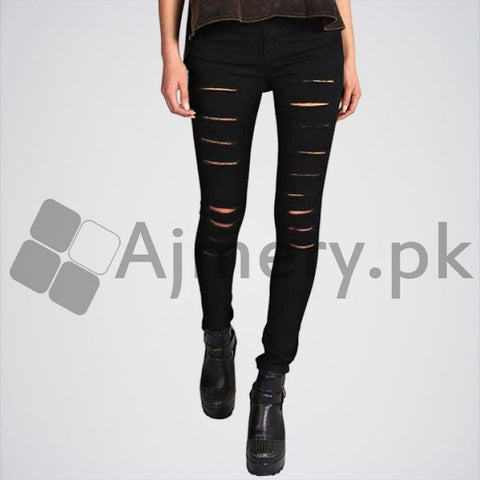 The Ajmery - Women's Pocket High Rise Skinny Jeans - Black