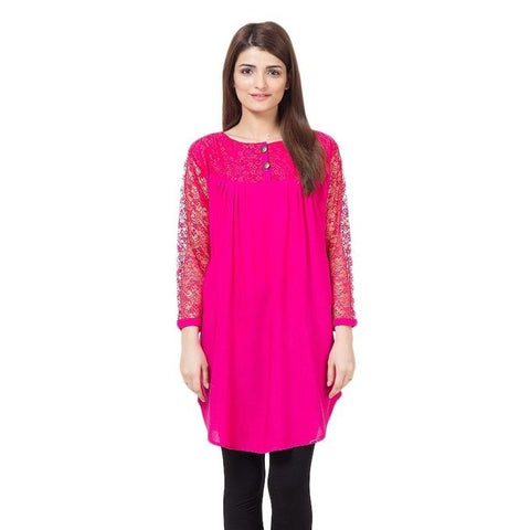 The Ajmery - Cotton and Net Top For Women - Pink