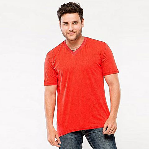 Cotton V-Neck T-Shirt for Men - Red