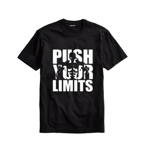 The Ajmery - Men's Push Your Limits Printed T-Shirt - Pyl-77 - Black