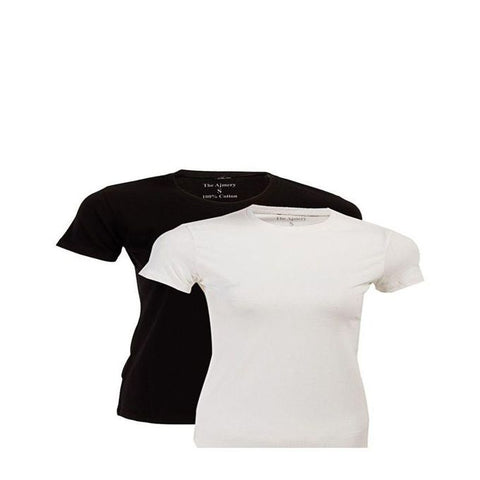 The Ajmery - Pack Of 2 Women T Shirt - Black & White