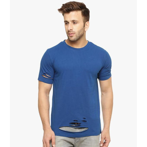 The Ajmery - Men's Cotton Ripped T-Shirt - Royal Blue