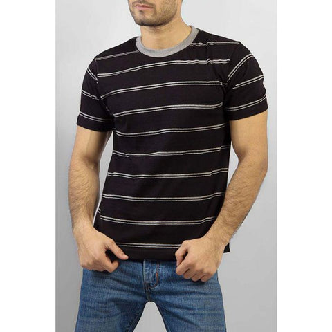 The Ajmery - Cotton T Shirt with Grey Double Stripes - Black