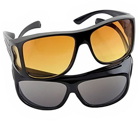 Apna Electronic - Pack of 2 - HD Night Vision & day Glasses - Black & Yellow