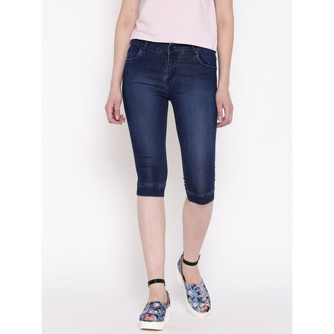 Ajmery Enterprises - Women's Faded Denim Capri - KTY-C258 - Blue