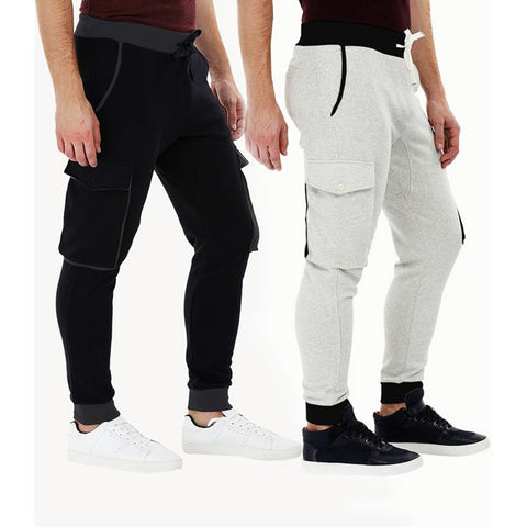 The Ajmery - Pack of 2 Knitted Cargo Cuff Jogger Sweatpants For Men - Heather Grey & Black