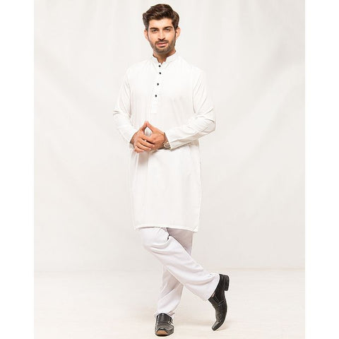 Ajmery Enterprise - Men's Contrast Collar Kurta - AJ-MK4 -  White