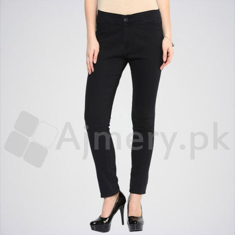The Ajmery - Women's Mid Rise Skinny Jeans - Black
