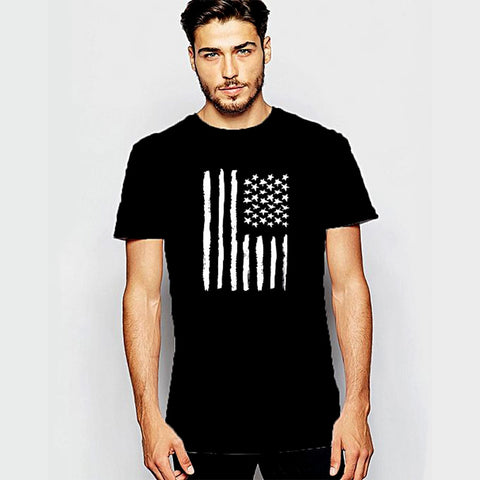 Flag Round Neck T-Shirt For Him - Grey