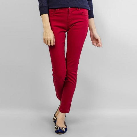 The Ajmery - Women's Cotton Chinos - Red