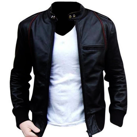 Bomber Aviator Faux (Artificial) Leather Jacket - Black