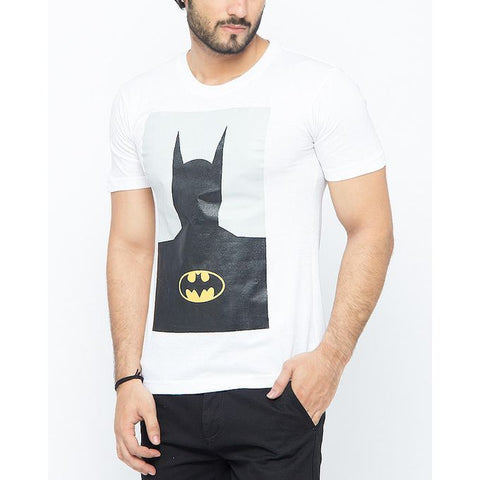 The Ajmery - Cotton Exclusive Batman Printed T-Shirt for Men - White