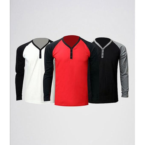 Ajmery Enterprise - Polycotton Y-Neck Raglan Sleeves Tshirts For Men - Pcyr-T3 - Pack Of 3 - Multicolor
