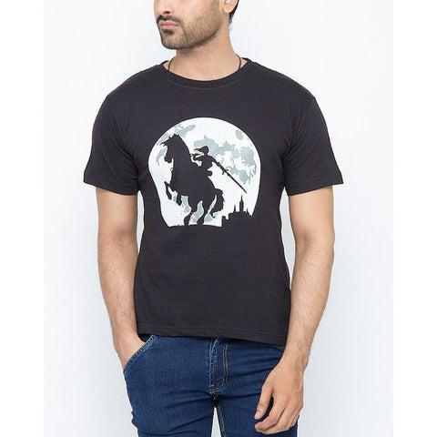 The Ajmery - Cotton Exclusive Graphics Printed T-Shirt for Men - Black