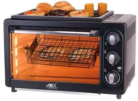 Anex - Oven Toaster For Convection B.B.Q Grill, Rotissrie And Fish Grill - AG-3069TT - Black