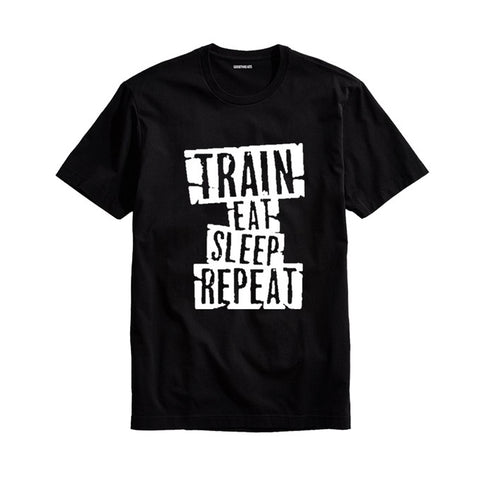 The Ajmery - Men's Train Eat Sleep Repeat Printed T-shirt - Tesr-21 - Black