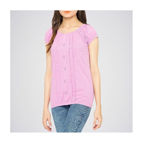 The Ajmery - Ribbed Deep Neck Tunic - Lilac