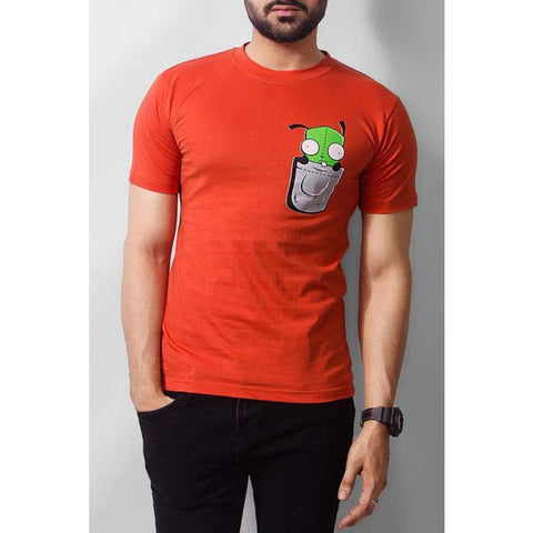 The Ajmery - Cotton Cartoon Printed T-shirt - Orange