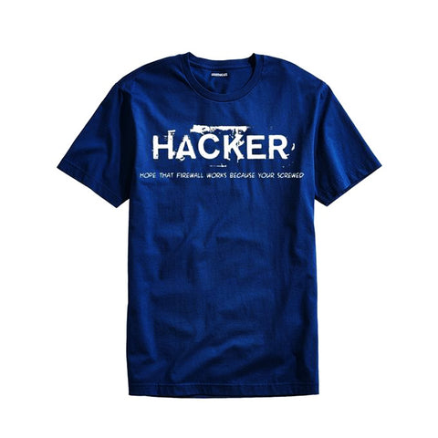 The Ajmery - Men's The Hacker Printed Short Sleeves T-Shirt - Hkr-23 - Navy Blue