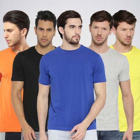 Ajmery Enterprise - Cotton T-Shirts For Men - P5-AJH - Pack of 5 - Multicolor