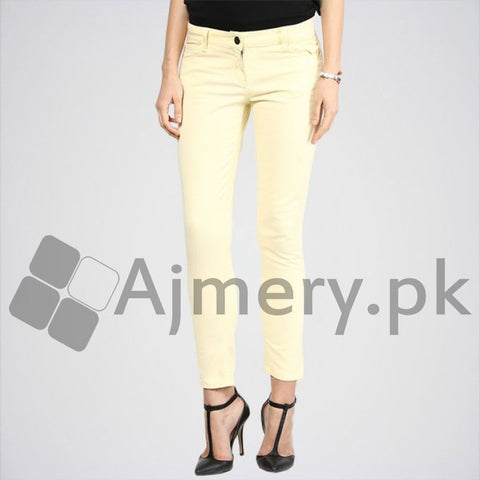 The Ajmery - Women's Basic Color Jeans - Cream
