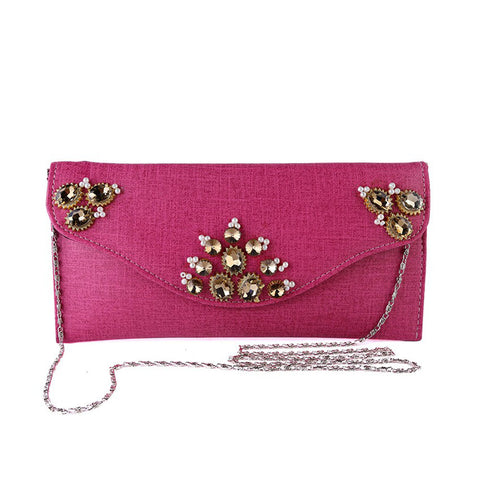 Artificial Leather Clutch for Women - MM-B-017 - Pink
