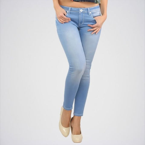 The Ajmery - Women's Mid Rise Skinny Jeans -  Light Blue