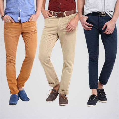 The Ajmery - Pack Of 3 Men's Cotton Twill Jeans - Multicolor