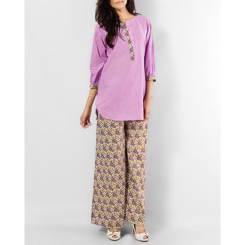 Ajmery Enterprise - Color Shirt with Multi Color Palazo Pant - Light Purple