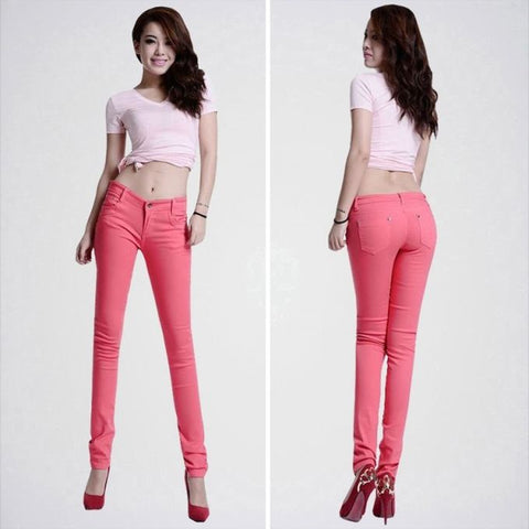 The Ajmery - Women's Skinny Fit Jeans - Pink