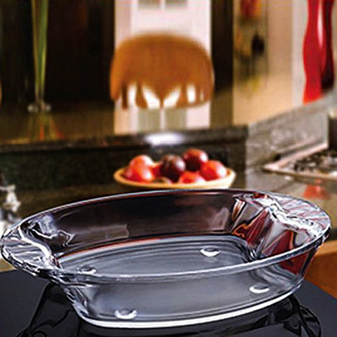 Glass Dinner Serving Tray Small - Transparent