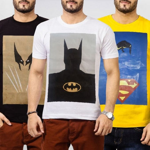Ajmery Enterprise - Superhero Printed T-Shirts - DE-4 - Pack Of 3 - Multicolor