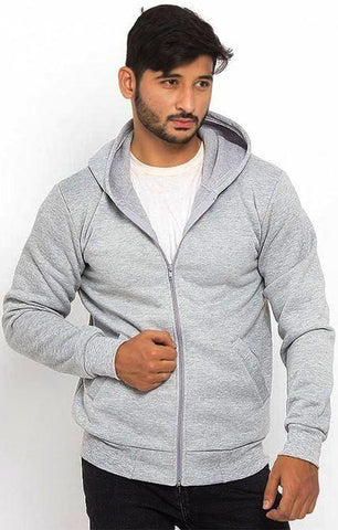 The Ajmery - Men's Fleece Basic Hoodie - Grey