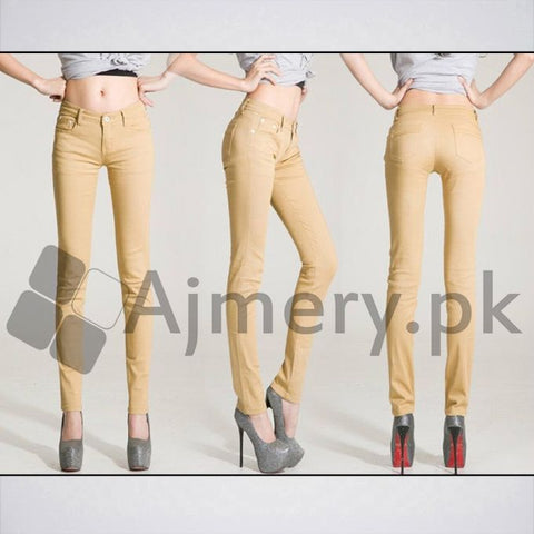 The Ajmery - Women's Casual Slim Fit Jeans - Khaki