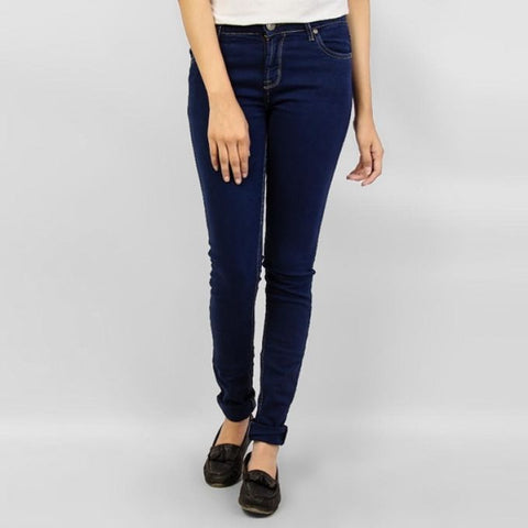 The Ajmery - Women's Over Dyed Denim Slim Fit Stretch Jean - Blue