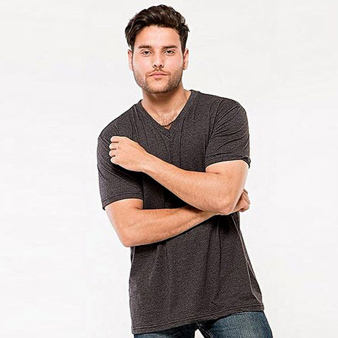 Cotton V-Neck T-Shirt for Men - Charcoal