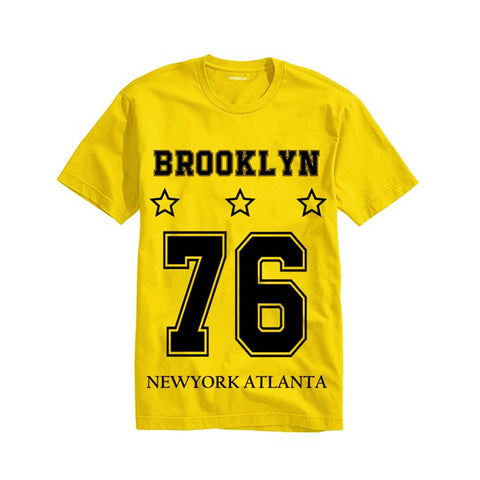 The Ajmery - Men's Brooklyn Short Sleeve Printed T-Shirt - Brk-76 - Yellow