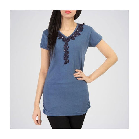 The Ajmery - Cotton Tunic - Greyish Blue