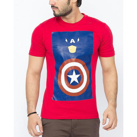 The Ajmery - Cotton Exclusive Captain America Printed T-Shirt for Men - Red