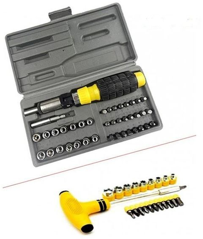 Apna Electronic - Pack of 2 - Socket & Screw Set - Black And Yellow