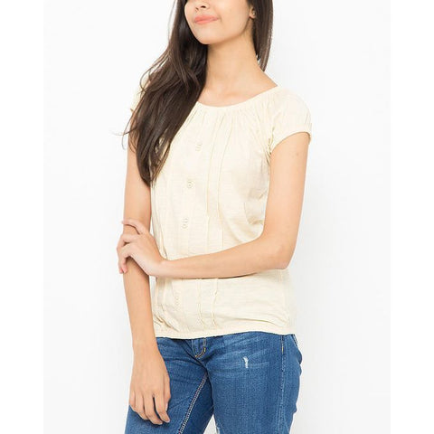 Ajmery Enterprise - Ribbed Round Neck Tunic for Women - KTY-672 - Beige
